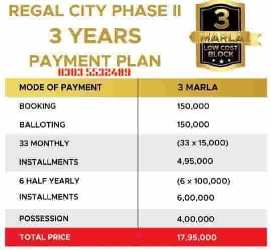 3 marla Installment plan regal city sheikhupura