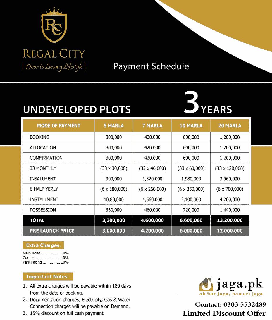 Regal City Residential plots installment plan pre launch