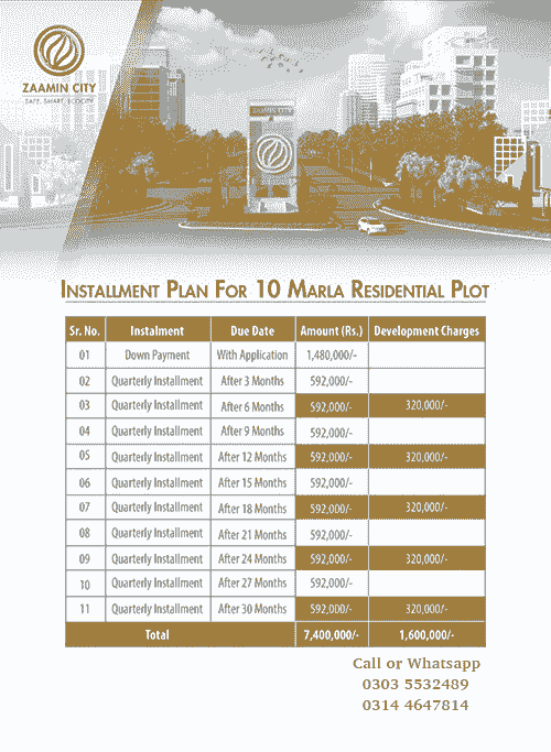 10 Marla Residential Payment Plan Zaamin City