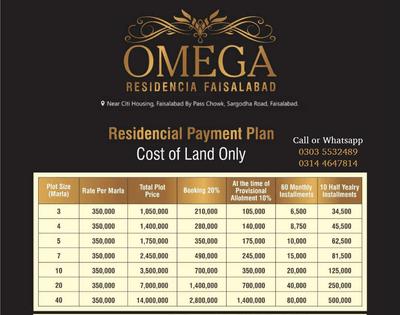 Omega Residencia Faisalabad Payment Plan