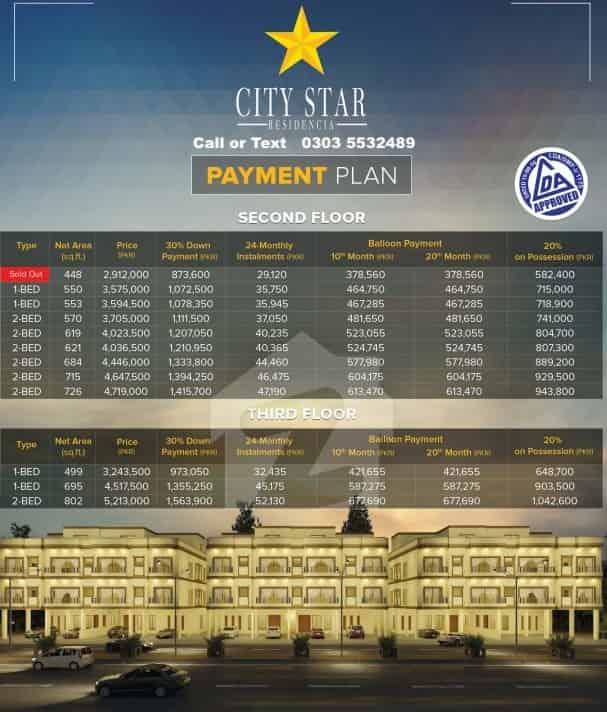 City Star Residencia 2nd and 3rd Floor Flats Installment plan-min