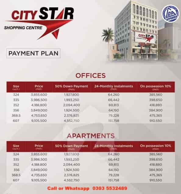 City Star Shopping Centre Lahore Payment Plan