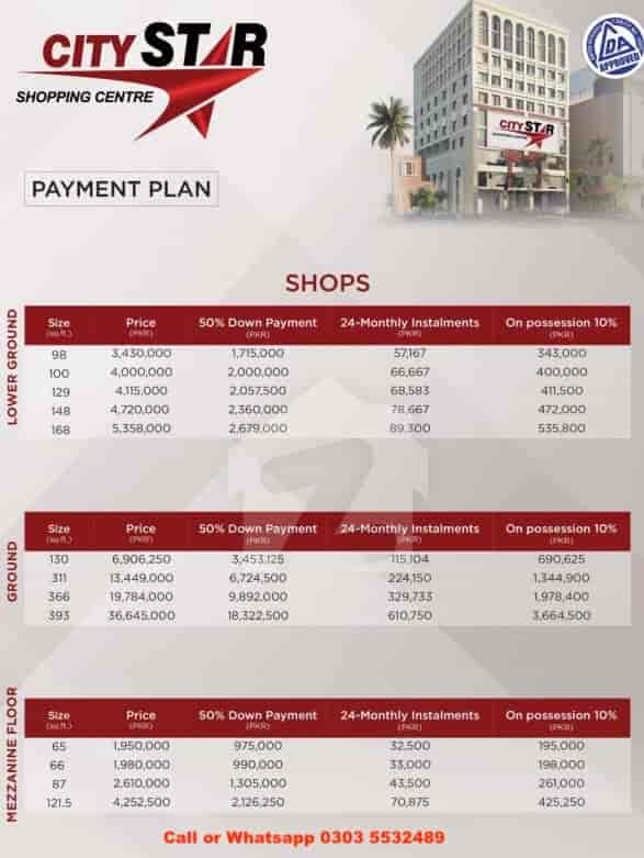City Star Shopping Mall Lahore Installment Schedule Apartments