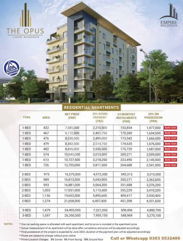 The Opus Luxury Residences Lahore Installment Plan